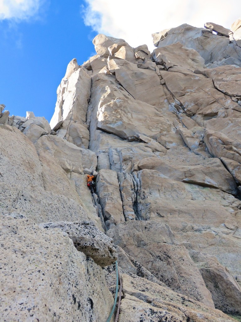 Leading the first pitch of Chocolate Liquido.  The obvious dihedral above me is the money pitch of the route.  Normal route is just to the left (Feb. 2015).